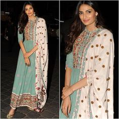 Athiya Shetty wearing traditional look by Rahul and Shikha. Indian Attire, Indian Ethnic Wear, Indian Outfits, Indian Clothes, Tunic Designs, Salwar Designs, Salwar Dress, Anarkali, Party Wear Dresses