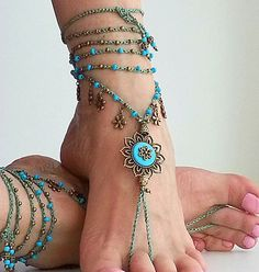 Fairy BAREFOOT SANDALS turquoise flower Gypsy anklet Boho by FiArt