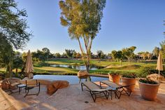 What a beautiful view of the golf course from your patio