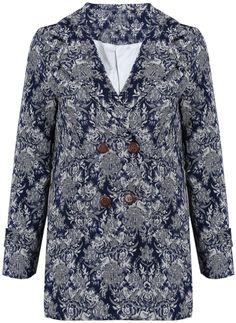 Blue Lapel Long Sleeve Porcelain Floral Coat US$31.15