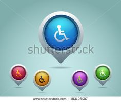 Disability Map Point Icons - stock vector