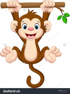 Illustration about Illustration of cute baby monkey hanging on tree. Illustration of innocent, leaf, character - 64982607 Monkey Drawing Cute, Baby Drawing, Cartoon Monkey Drawing, Photos Singe, Cute Baby Monkey, Monkey Pictures, Monkey Tattoos, Baby Art, Cute Cartoon