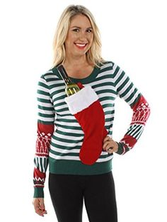 20 Ugly Christmas Sweaters to Buy and DIY - Tacky Christmas Sweaters for Women Ugly Christmas Sweater Women, Ugly Xmas Sweater, Christmas Jumpers, Christmas Shirts, Christmas Humor, Christmas Stockings, Womens Christmas, Christmas Ideas, Christmas Outfits