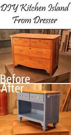 This Old Dresser is Given New Life by Turning it into a Kitchen Island furniture repurpose DIY Dresser Kitchen Island Refurbished Furniture, Repurposed Furniture, Rustic Furniture, Furniture Makeover, Antique Furniture, Chair Makeover, Furniture Refinishing, Outdoor Furniture, Furniture Cleaning
