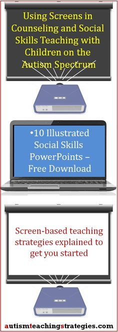 "Here are ten of my social skills kits in a special PowerPoint format so you can ""show"" them instead of printing and cutting them out. I include a visual tutorial to get you started. Tags: autism, social skills, free download"