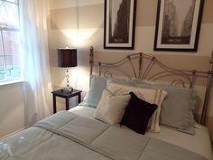 Dramatic Comfort - Bedroom #stripes #guestbedroom #grey #whitecurtains #interiordesign #blackandwhitephotos #dramatic