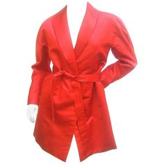 Preowned Cherry Red Halston Couture Belted Satin Jacket. 1970's. ($975) ❤ liked on Polyvore featuring outerwear, jackets, red, smoking jackets, red smoking jacket, belted wrap jacket, satin jackets, smoking jacket and vintage smoking jacket