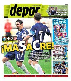 """""""MASACRE"""" tituló el diario Depor, refiriéndose a la victoria de Sporting Cristal sobre Universitario de Deportes por cuatro a cero."""