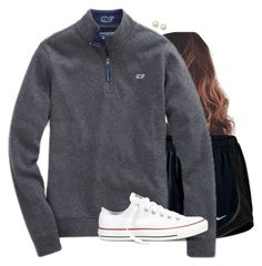 """""""Gray quarter zip"""" by aweaver-2 ❤ liked on Polyvore featuring NIKE, Vineyard Vines, Converse and Honora"""