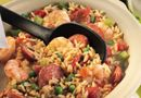 Jumpin' Jambalaya - The Pampered Chef® Fantastic recipe for a Mardi Gras Party!! Used the new Dutch Oven Rockcrok & doubled the ingredients & used 1 TB.Creole seasoning instead of all the seasonings listed - delicious! Make it healthier - turkey sausage & brown rice.