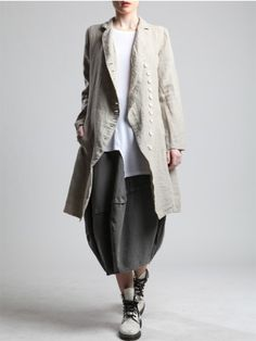 LINEN FROCK COAT - JACKETS, JUMPSUITS, DRESSES, TROUSERS, SKIRTS, JERSEY, KNITWEAR, ACCESORIES - Woman -