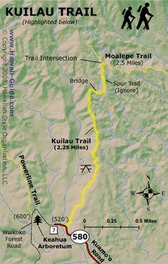 Kauai Hiking Maps - Kuilau Ridge Trail