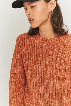 0a2bf2a14b6 Shore Leave by Urban Outfitters Chunky Twist Orange Jumper