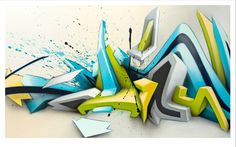 Buy Wave - Daimwaves by artist Daim aka Mirko Reisser Print- Wave is a fine art print by legendary graffiti pop culture artist  Daim aka Mirko Reisser depicting tag like throw-up wave of shapes, thick lines and depths. Crisp, clean and polished, strait off the street to your wall. This print is from a series of 3 in a suite paying homage to his massive gallery paintings and works. Daim limited edition art print from master artist Mirko Reisser.
