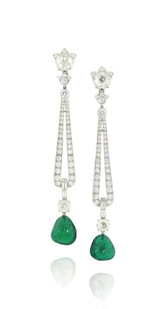 A PAIR OF EMERALD AND DIAMOND EAR PENDANTS, BY CARTIER Each rose and brilliant-cut diamond floral design surmount, to a similarly designed spacer and openwork loop pendant, with further baguette and rose-cut diamond connection and baroque shaped polished emerald drop terminal, post and clip fittings, 8.6cm, with French assay marks for platinum and gold, in red Cartier pouch Signed Cartier, no.17197C