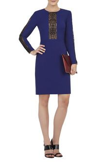 Eloisa Long-Sleeve Embroidered-Trim Dress  - bcbg max azria