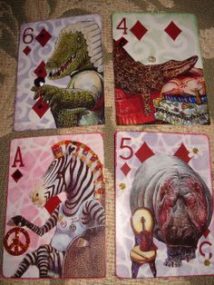 Altered playing cards - ahhhh There's an lesson thought brewing. Playing Card Crafts, Playing Cards Art, Atc Cards, Card Tags, Altered Books, Altered Art, Collage, Paper Art, Paper Crafts