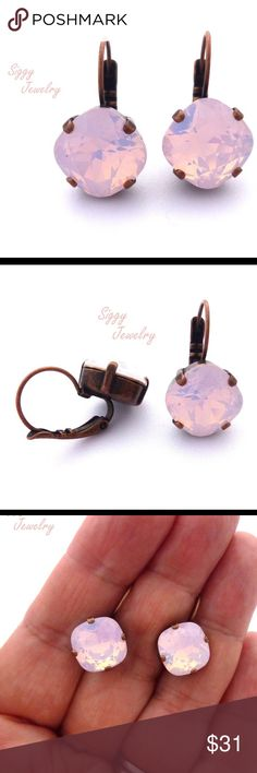 12mm Rose Water Opal Swarovski Crystal Earrings Gorgeous and feminine drop lever back earrings. These are created with genuine Swarovski 12mm cushion cut rose water opals, a beautiful opaque light pink. The finish is nickel free antique copper. Gift packaging is included. Siggy Jewelry has sold thousands of pieces since 2012. The five star glowing reviews submitted by happy customers speak for themselves. I look forward to working with you. Let me know if you have any questions. Thanks for…