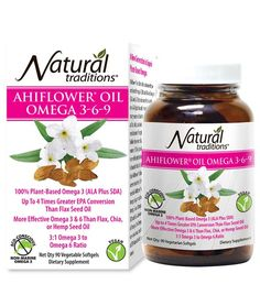 100% plant based Omega 3. Demonstrates 3-4 times greater EPA conversion compared to flax seed oil. No fishy taste or aftertaste!! Natural Traditions Ahiflower Omega Oil 3-6-9 is grown in the UK, processed in Canada and encapsulaed in the USA. Shop today at yourorganicsources.com.