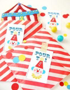 Etiquettes cadeaux anniversaire thème cirque