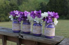 Purple Country Rustic Wedding Mason Jar Centerpieces, Mason Jars, Wedding Decor, Mason Jar Vase by HereToThereDesigns on Etsy https://www.etsy.com/listing/463475620/purple-country-rustic-wedding-mason-jar