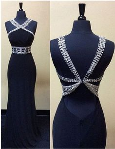 Evening Dressesprom dressesMermaid Prom Dressesnavy blue evening dressesFormal Sexy Long DressesCrew Neck Floor Length Prom Gowns with Beading