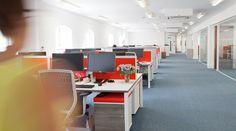 Interaction Case Study   ORX, Bath UK. Modern, light refurbishment of corporate office. Open plan office.
