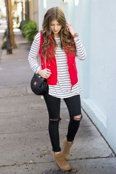 Add a pop of red to your outfit with this red puffer vest! Fall Fashion Outfits, Casual Fall Outfits, Winter Outfits, Cute Outfits, Winter Fashion, Christmas Outfits, Red Christmas, Red Puffer Vest, Red Vest