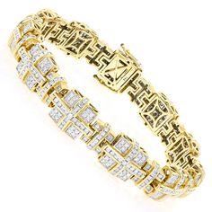 14K Gold Mens Round Diamond Bracelets Piece 6.87ct