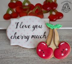 I love you cherry much valentine cookies Valentines Day Cookies, Happy Valentines Day, Royal Icing Cookies, Love You, My Love, 2nd Birthday, Cherry, Christmas Ornaments, Holiday Decor