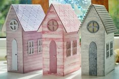 Beach huts using the Tim Holtz / Sizzix Village Brownstone Dies