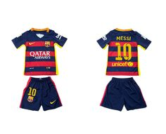 Youth 2015-2016 Barcelona #10 MESSI Home Soccer Jersey