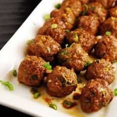 Asian Meatballs Recipe - LaaLoosh Used 95% lean ground chicken, oats instead of Panko, and 1 egg instead of substitute.