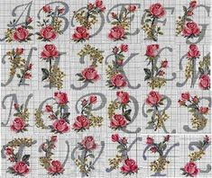 Cross Stitch Embroidery Cross-stitch Alphabet with Roses. no color chart, just use pattern chart as your guide Cross Stitch Letters, Cross Stitch Rose, Cross Stitch Flowers, Cross Stitch Charts, Cross Stitch Designs, Embroidery Alphabet, Embroidery Monogram, Ribbon Embroidery, Cross Stitch Embroidery