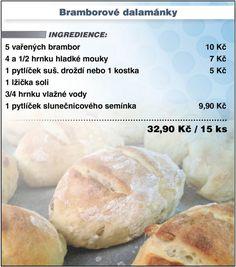 Levně a chutně - recept na Bramborové dalamánky Muffin Bread, Czech Recipes, Thing 1, Ciabatta, Keto Bread, No Bake Cake, Food Hacks, Bread Recipes, Food And Drink