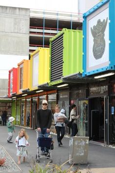 Temporary shipping container mall in Christchurch, NZ. Replaces buildings destroyed in earthquake.