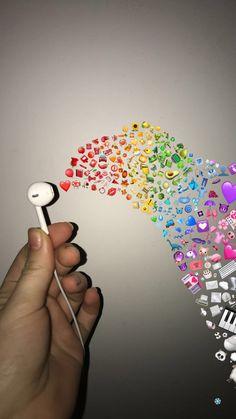 Rainbow headphones🌈🌈🌈 Source by ulchristina Iphone Wallpaper Pinterest, Iphone Wallpaper Vsco, Tumblr Wallpaper, Cute Emoji Wallpaper, Disney Wallpaper, Aesthetic Pastel Wallpaper, Aesthetic Wallpapers, Emoji Photo, Emoji Pictures