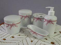 kit higiene porcelana banheiro porta escova saboneteira pote