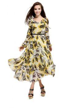 Cute #Yellow V Neck Casual Chiffon #Womens #Maxi #Dress.#Women's #Fashion #Dresses #Cute #Casual #fall,#Teens #Cheap #Sexy #Dresses #To #Wear #To A #Wedding #Website #Online,#Long #Sleeve #Dresses2014. catchfad.com