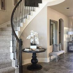 Foyer decorating – Home Decor Decorating Ideas Foyer Staircase, Curved Staircase, Staircase Design, Floating Staircase, Stair Decor, Entryway Decor, Foyer Table Decor, Entryway Ideas, Entry Foyer