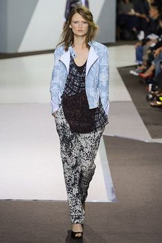 Black cheetah-inspired silk pants, plaid draped top and blue quilted biker jacket from Phillip Lim's Spring 2013 collection