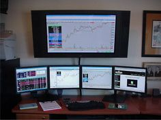 Trading Room Set Up Pics – Soullfire Simple Computer Desk, Cool Office Desk, Computer Desk Setup, Home Office Setup, Small Office, Home Office Design, Pc Gaming Desk, Gaming Room Setup, Pc Setup