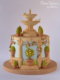 My Italian Garden Cake - Gardens of the world Collaboration - Cake by Marlene - CakeHeaven Gardening Theme Cake Ideas Pretty Cakes, Beautiful Cakes, Amazing Cakes, Unique Cakes, Creative Cakes, Elegant Cakes, Fondant Cakes, Cupcake Cakes, Bolo Paris