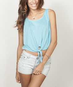 Look at this Turquoise Tie-Front Sleeveless Crop Top on #zulily today!