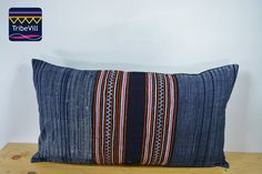 """Vintage Pillow Cover, Hill Tribe Textile Decorative Pillow Handmade Cotton and Hemp Embroidered Eco Friendly 12"""" x 22"""" HCB0069"""