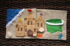 The Quiet Book Blog--build a sandcastle book, great for the beach. Open the drawbridge on the sandcastle and there is a crab, also the shell in the corner opens. The pieces of the sandcastle go back in the pail when done.