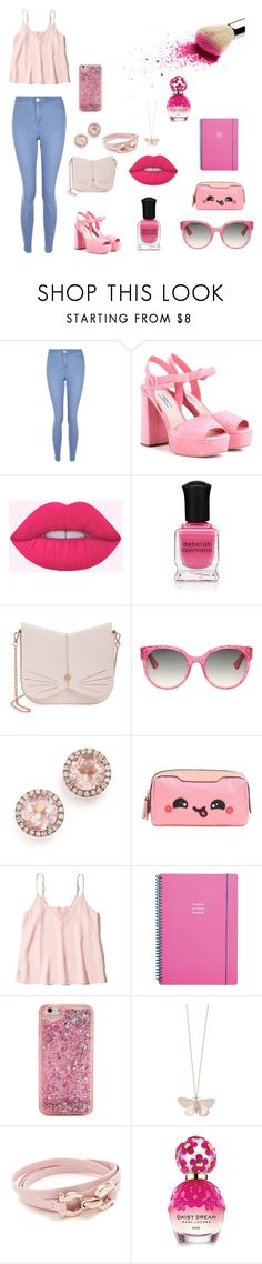 """Pink💗"" by mariaju25 ❤ liked on Polyvore featuring New Look, Prada, Deborah Lippmann, Ted Baker, Gucci, Dana Rebecca Designs, Anya Hindmarch, Hollister Co., Go Stationery and ban.do"