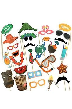 PRA134 Photo Booth Prop Fun Tropical Theme Party Masks with Sticks #facepaintingbooth