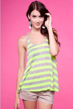 Neon Lime loose fit tank top