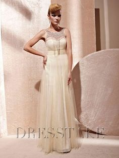Bateau A-line Colored Zip-up Floor-length Beading Organza Prom Dresses